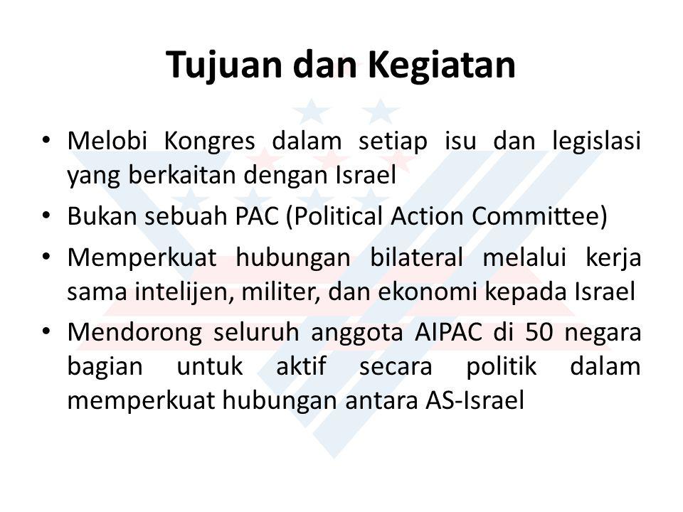 Tujuan dan Kegiatan Melobi Kongres dalam setiap isu dan legislasi yang berkaitan dengan Israel Bukan sebuah PAC (Political Action Committee) Memperkuat hubungan bilateral melalui kerja sama intelijen, militer, dan ekonomi kepada Israel Mendorong seluruh anggota AIPAC di 50 negara bagian untuk aktif secara politik dalam memperkuat hubungan antara AS-Israel