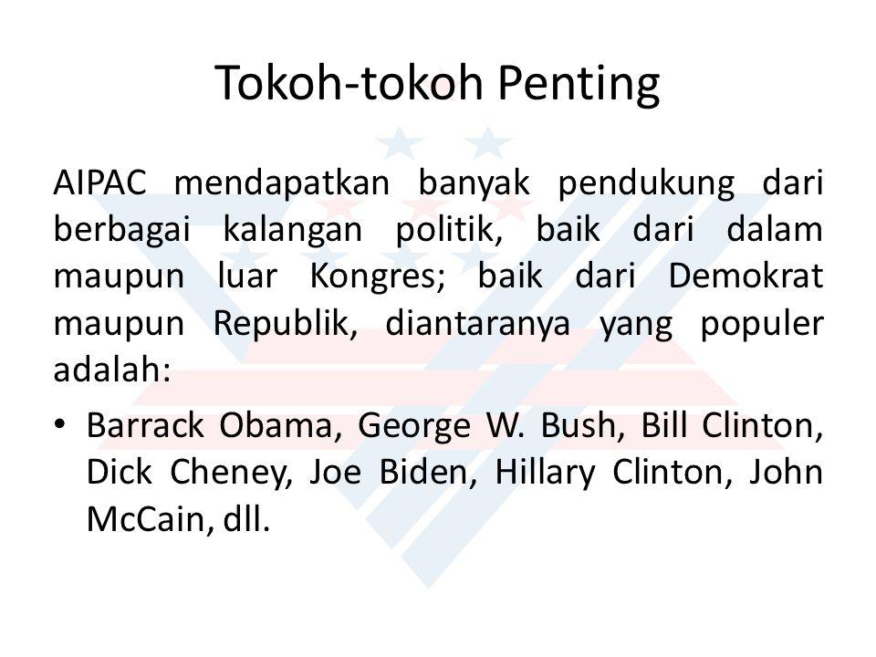 Tokoh-tokoh Penting AIPAC mendapatkan banyak pendukung dari berbagai kalangan politik, baik dari dalam maupun luar Kongres; baik dari Demokrat maupun Republik, diantaranya yang populer adalah: Barrack Obama, George W.