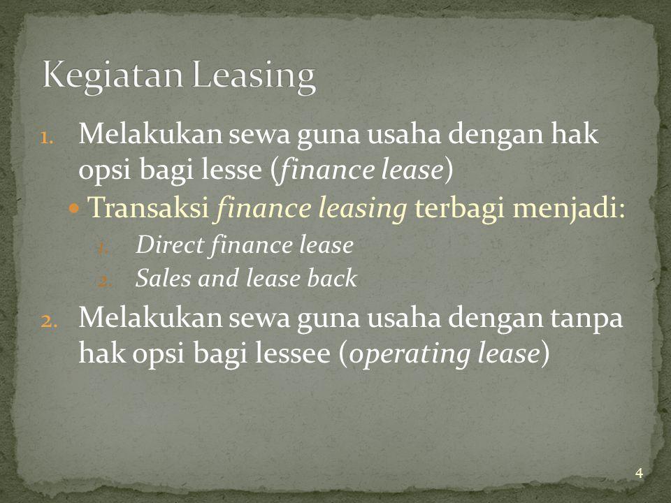 1. Melakukan sewa guna usaha dengan hak opsi bagi lesse (finance lease) Transaksi finance leasing terbagi menjadi: 1. Direct finance lease 2. Sales an