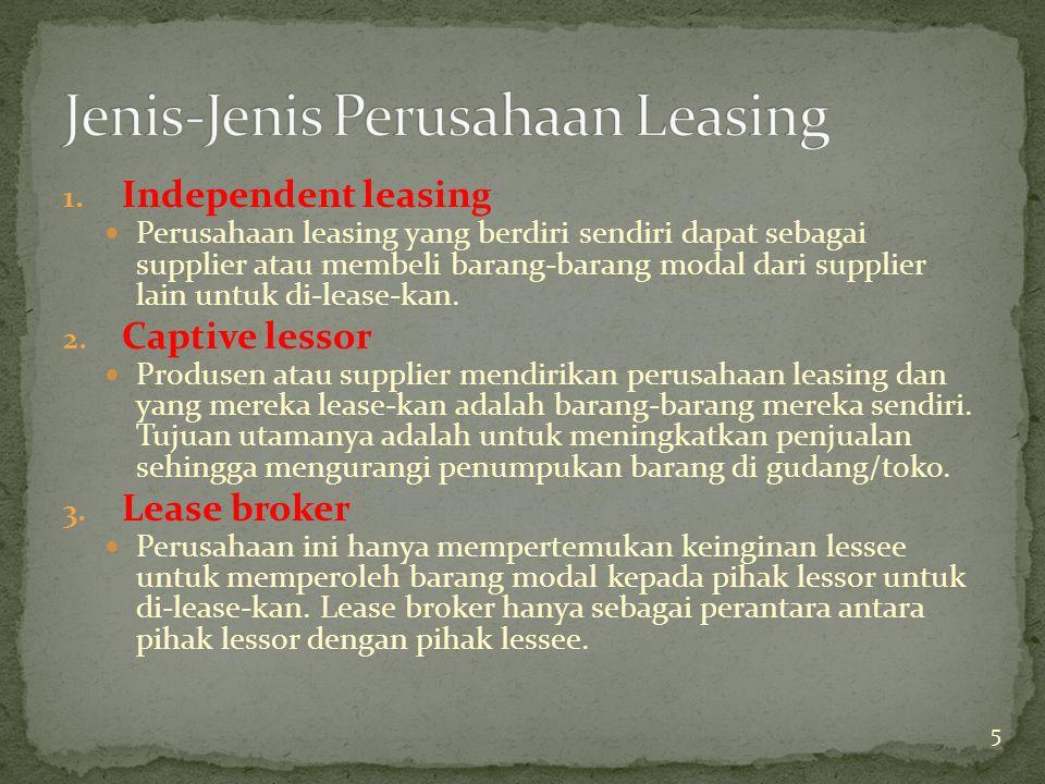 1. Independent leasing Perusahaan leasing yang berdiri sendiri dapat sebagai supplier atau membeli barang-barang modal dari supplier lain untuk di-lea