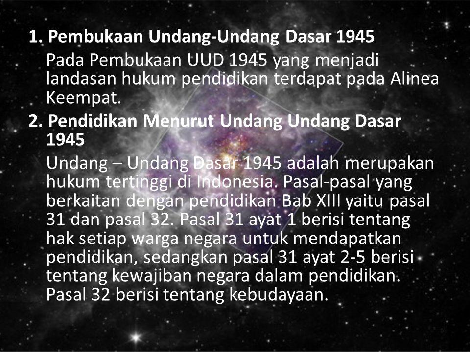1. Pembukaan Undang-Undang Dasar 1945 Pada Pembukaan UUD 1945 yang menjadi landasan hukum pendidikan terdapat pada Alinea Keempat. 2. Pendidikan Menur