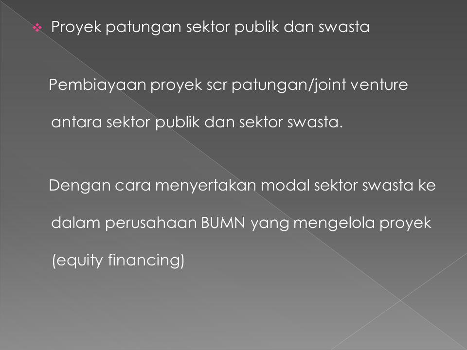  Proyek patungan sektor publik dan swasta Pembiayaan proyek scr patungan/joint venture antara sektor publik dan sektor swasta. Dengan cara menyertaka