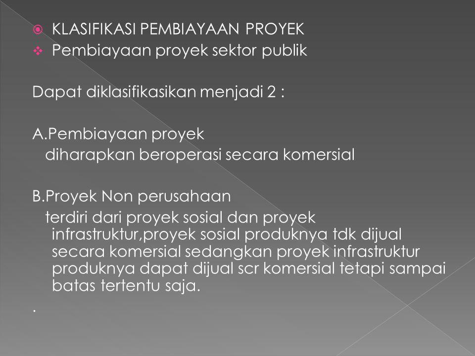  KLASIFIKASI PEMBIAYAAN PROYEK  Pembiayaan proyek sektor publik Dapat diklasifikasikan menjadi 2 : A.Pembiayaan proyek diharapkan beroperasi secara