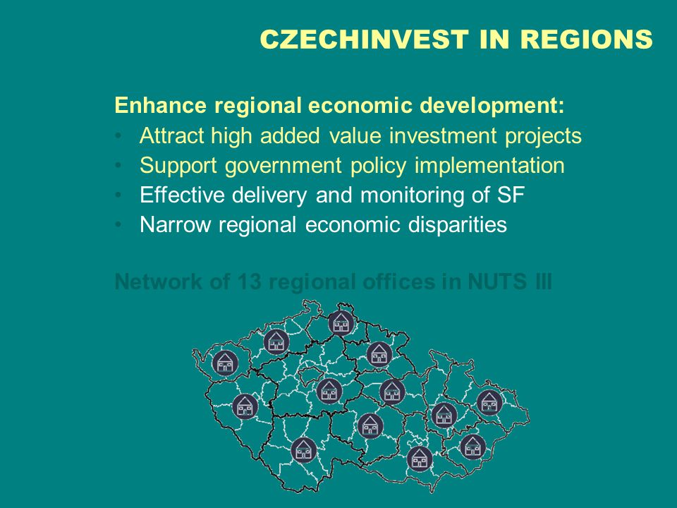 Enhance regional economic development: Attract high added value investment projects Support government policy implementation Effective delivery and monitoring of SF Narrow regional economic disparities Network of 13 regional offices in NUTS III CZECHINVEST IN REGIONS