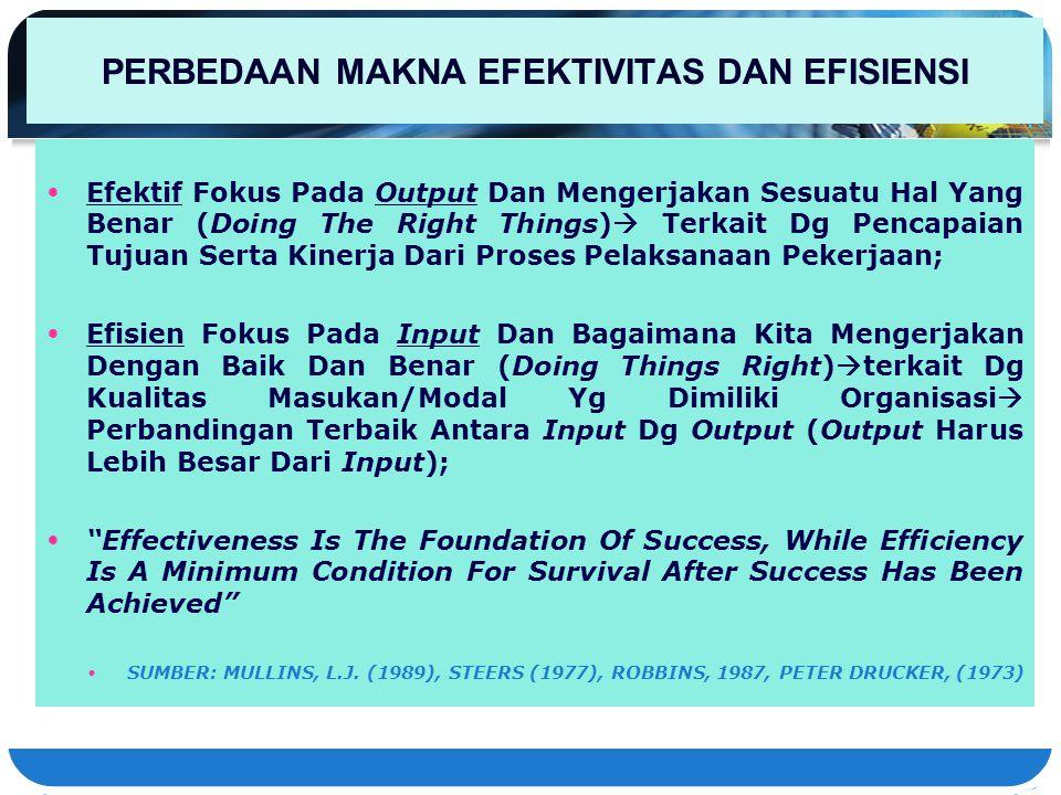 PERBEDAAN MAKNA EFEKTIVITAS DAN EFISIENSI Efektif Fokus Pada Output Dan Mengerjakan Sesuatu Hal Yang Benar (Doing The Right Things)  Terkait Dg Penca