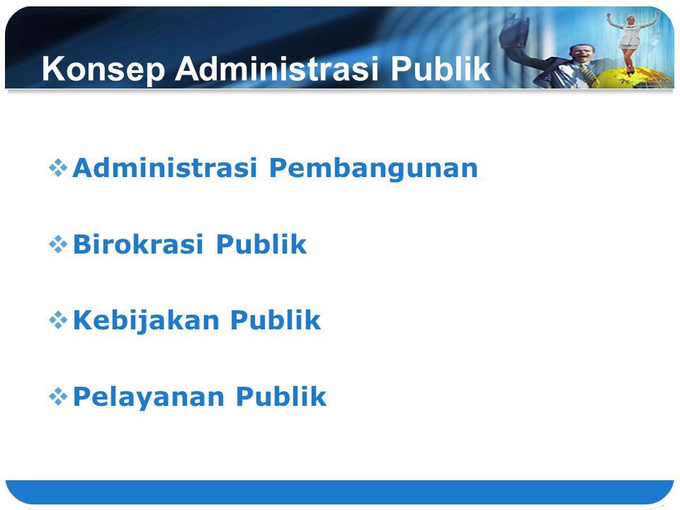 Konsep Administrasi Publik  Administrasi Pembangunan  Birokrasi Publik  Kebijakan Publik  Pelayanan Publik 35