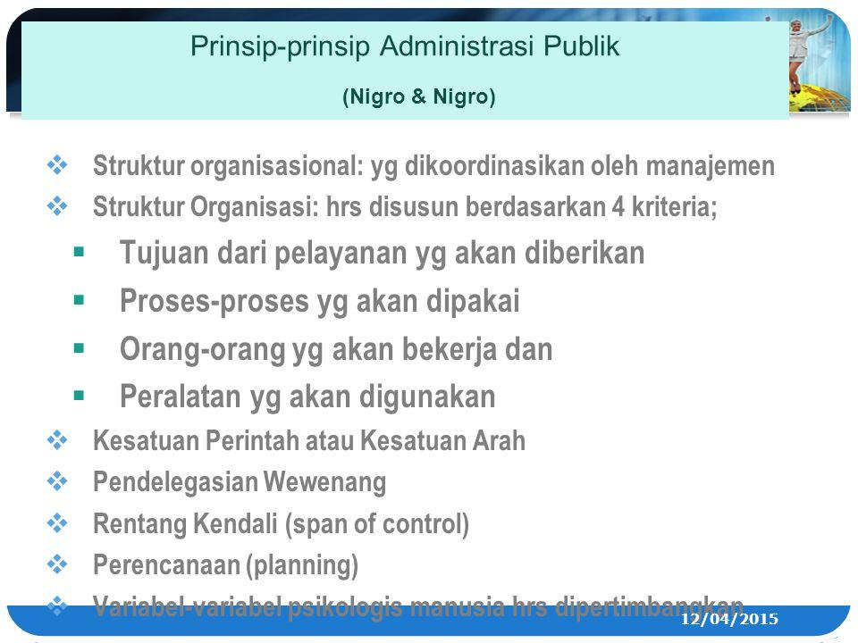 Prinsip-prinsip Administrasi Publik (Nigro & Nigro)  Struktur organisasional: yg dikoordinasikan oleh manajemen  Struktur Organisasi: hrs disusun be