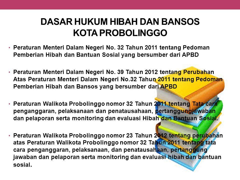 DASAR HUKUM HIBAH DAN BANSOS KOTA PROBOLINGGO Peraturan Menteri Dalam Negeri No. 32 Tahun 2011 tentang Pedoman Pemberian Hibah dan Bantuan Sosial yang