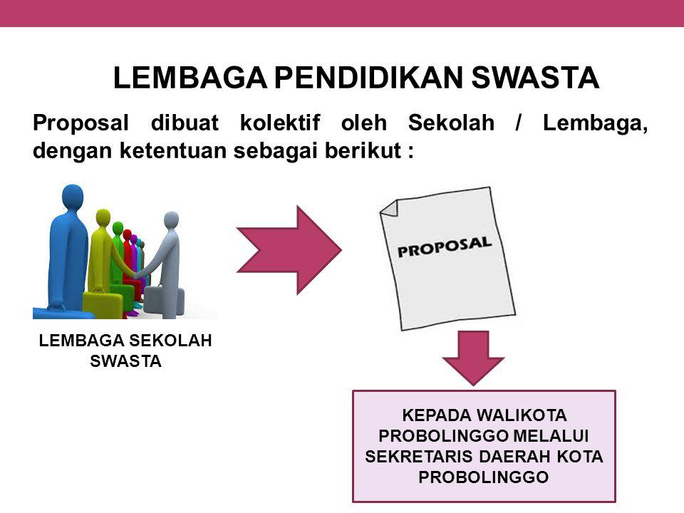 LEMBAGA PENDIDIKAN SWASTA Proposal dibuat kolektif oleh Sekolah / Lembaga, dengan ketentuan sebagai berikut : LEMBAGA SEKOLAH SWASTA KEPADA WALIKOTA P