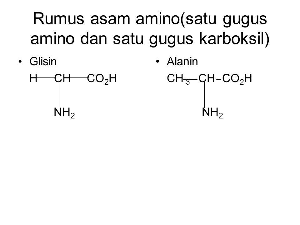 Rumus asam amino(satu gugus amino dan satu gugus karboksil) Glisin H CH CO 2 H NH 2 Alanin CH 3 CH CO 2 H NH 2