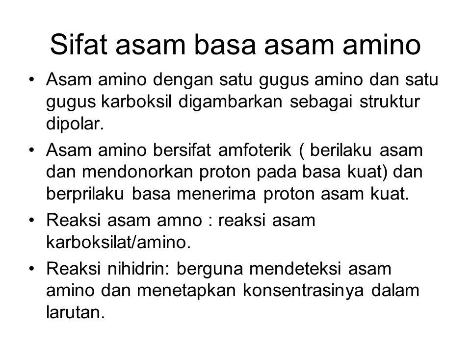 Sifat asam basa asam amino Asam amino dengan satu gugus amino dan satu gugus karboksil digambarkan sebagai struktur dipolar. Asam amino bersifat amfot