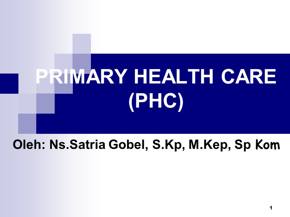 1 PRIMARY HEALTH CARE (PHC) Oleh: Ns.Satria Gobel, S.Kp, M.Kep, Sp Kom