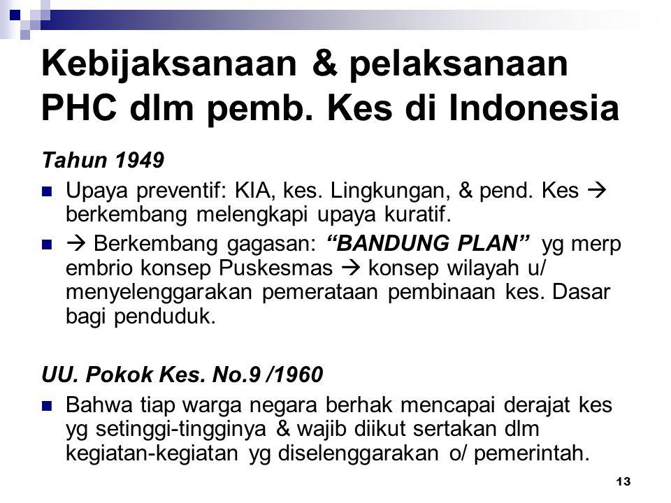 13 Kebijaksanaan & pelaksanaan PHC dlm pemb. Kes di Indonesia Tahun 1949 Upaya preventif: KIA, kes. Lingkungan, & pend. Kes  berkembang melengkapi up
