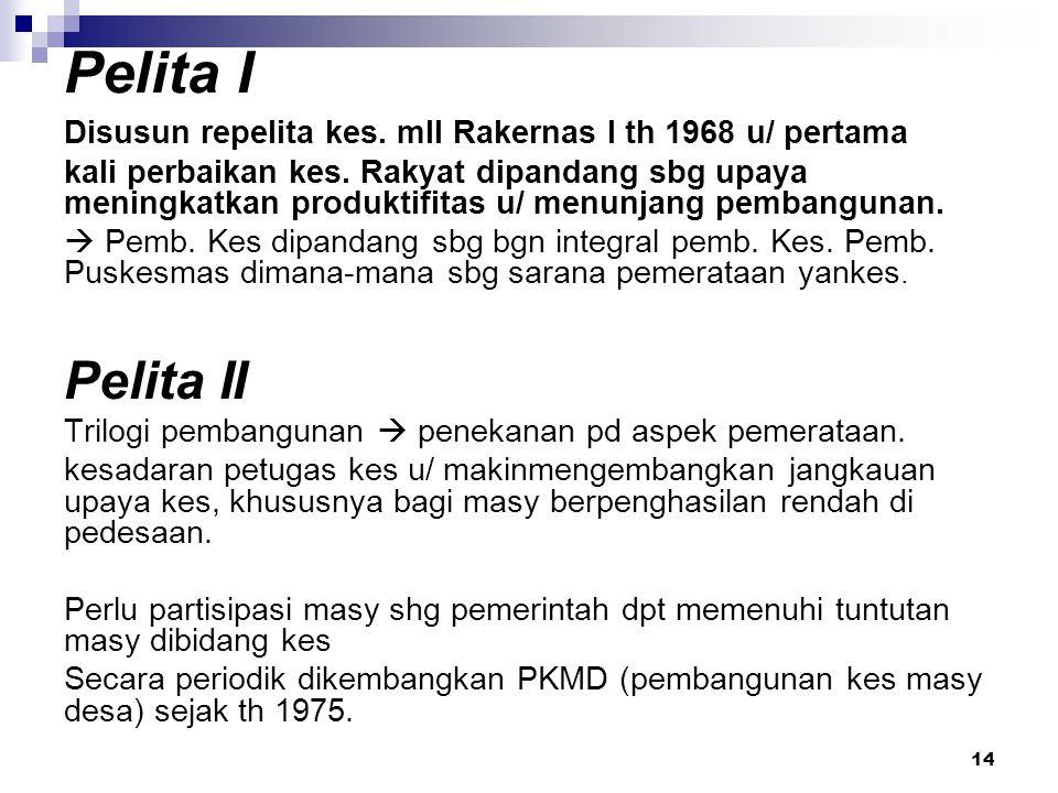 14 Pelita I Disusun repelita kes. mll Rakernas I th 1968 u/ pertama kali perbaikan kes. Rakyat dipandang sbg upaya meningkatkan produktifitas u/ menun