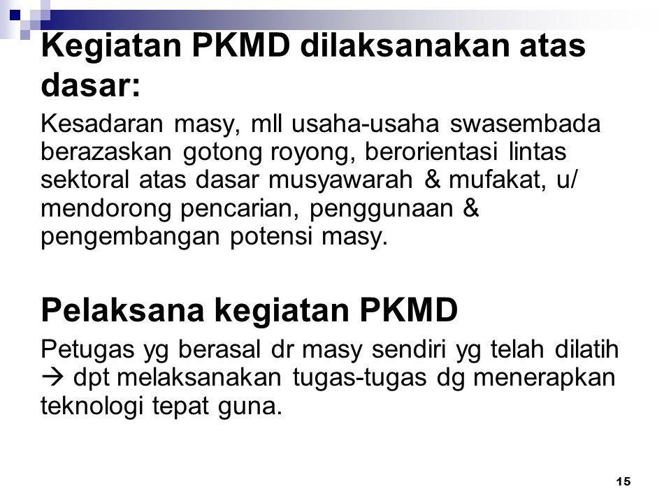 15 Kegiatan PKMD dilaksanakan atas dasar: Kesadaran masy, mll usaha-usaha swasembada berazaskan gotong royong, berorientasi lintas sektoral atas dasar