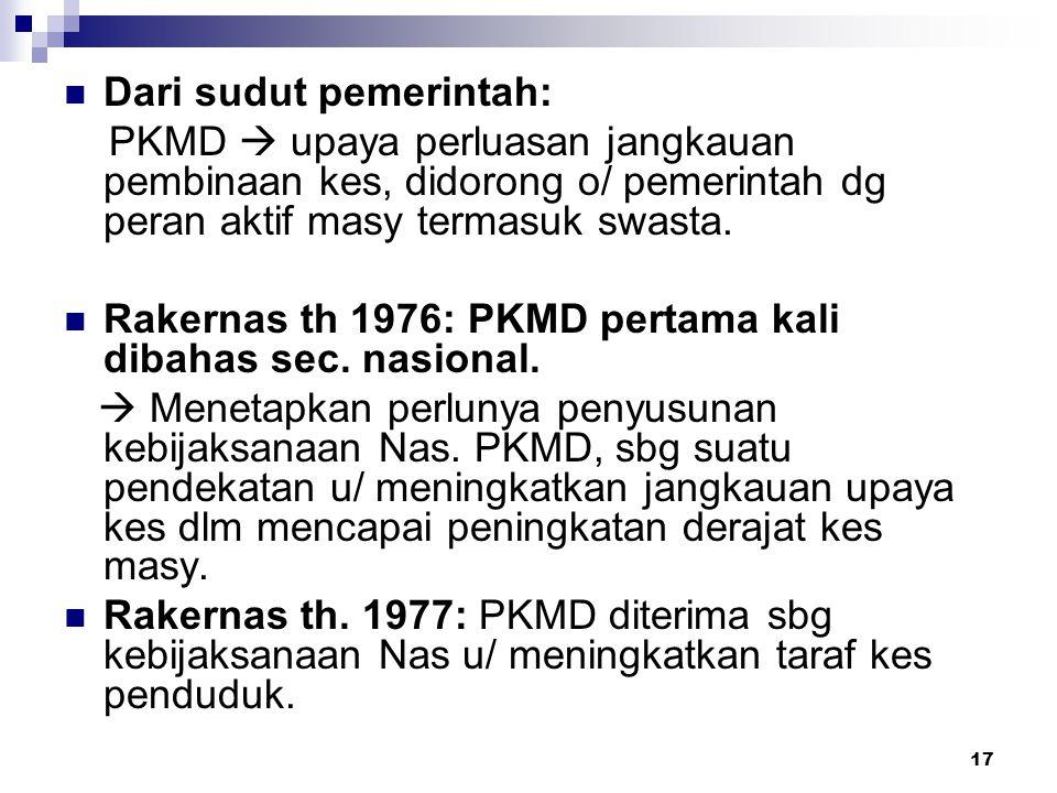 17 Dari sudut pemerintah: PKMD  upaya perluasan jangkauan pembinaan kes, didorong o/ pemerintah dg peran aktif masy termasuk swasta. Rakernas th 1976