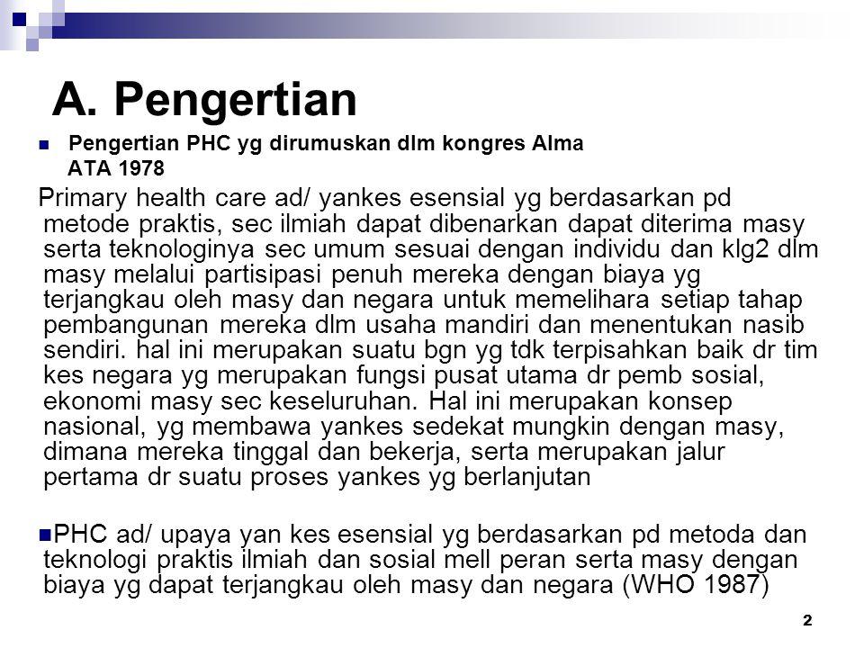 13 Kebijaksanaan & pelaksanaan PHC dlm pemb.Kes di Indonesia Tahun 1949 Upaya preventif: KIA, kes.