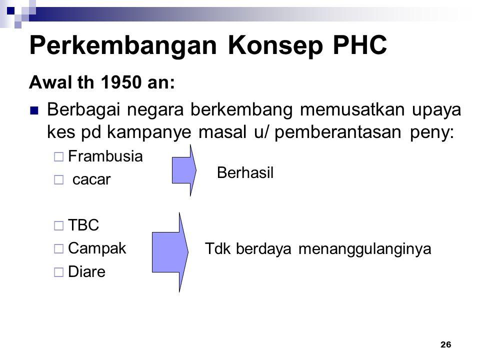 26 Perkembangan Konsep PHC Awal th 1950 an: Berbagai negara berkembang memusatkan upaya kes pd kampanye masal u/ pemberantasan peny:  Frambusia  cac