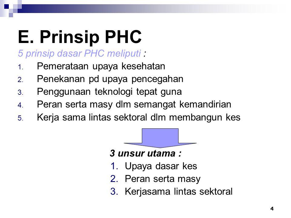 4 E. Prinsip PHC 5 prinsip dasar PHC meliputi : 1. Pemerataan upaya kesehatan 2. Penekanan pd upaya pencegahan 3. Penggunaan teknologi tepat guna 4. P