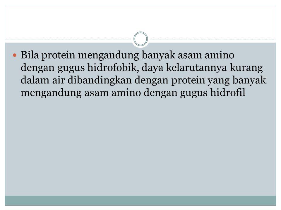 Bila protein mengandung banyak asam amino dengan gugus hidrofobik, daya kelarutannya kurang dalam air dibandingkan dengan protein yang banyak mengandu