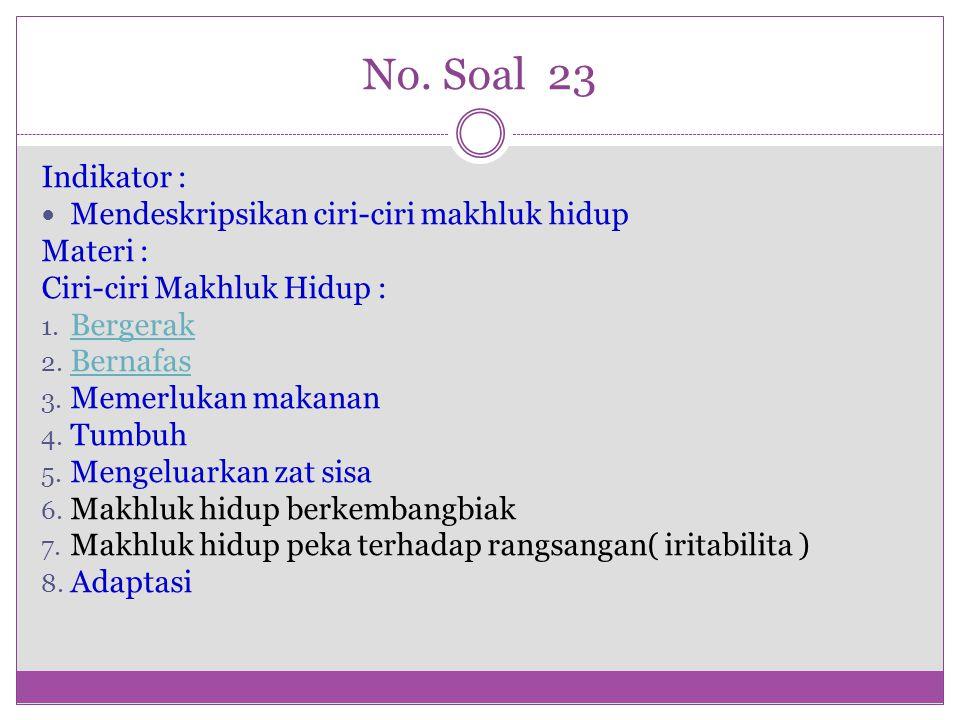 No. Soal 23 Indikator : Mendeskripsikan ciri-ciri makhluk hidup Materi : Ciri-ciri Makhluk Hidup : 1. Bergerak Bergerak 2. Bernafas Bernafas 3. Memerl