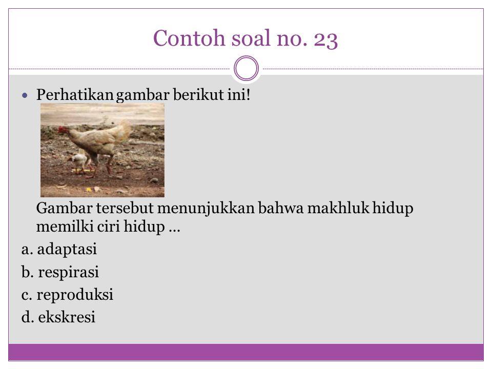 Contoh soal no. 23 Perhatikan gambar berikut ini! Gambar tersebut menunjukkan bahwa makhluk hidup memilki ciri hidup... a. adaptasi b. respirasi c. re