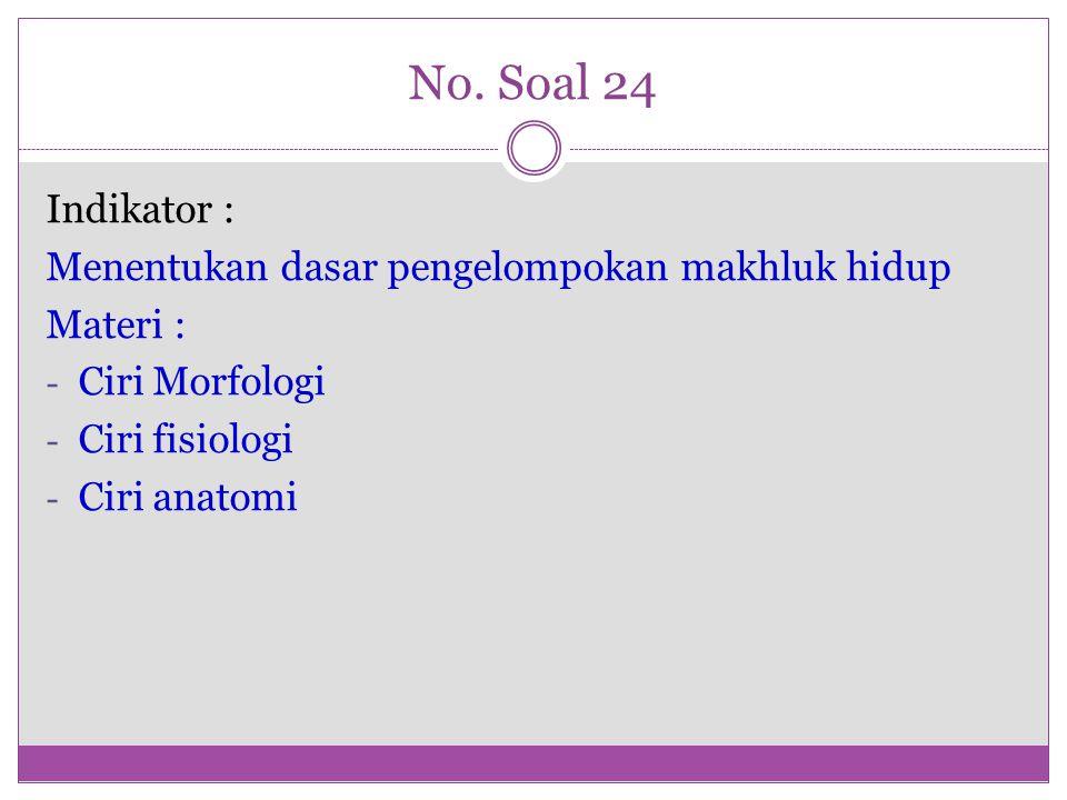 No. Soal 24 Indikator : Menentukan dasar pengelompokan makhluk hidup Materi : - Ciri Morfologi - Ciri fisiologi - Ciri anatomi