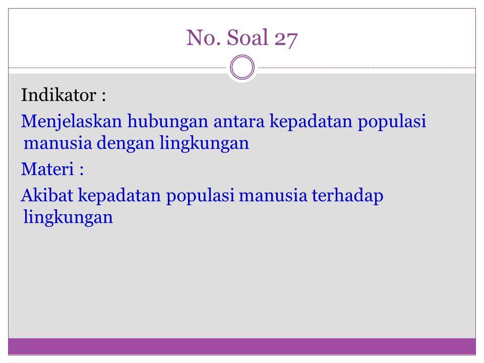 No. Soal 27 Indikator : Menjelaskan hubungan antara kepadatan populasi manusia dengan lingkungan Materi : Akibat kepadatan populasi manusia terhadap l