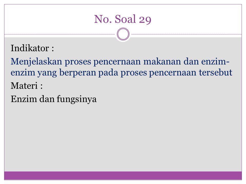 No. Soal 29 Indikator : Menjelaskan proses pencernaan makanan dan enzim- enzim yang berperan pada proses pencernaan tersebut Materi : Enzim dan fungsi