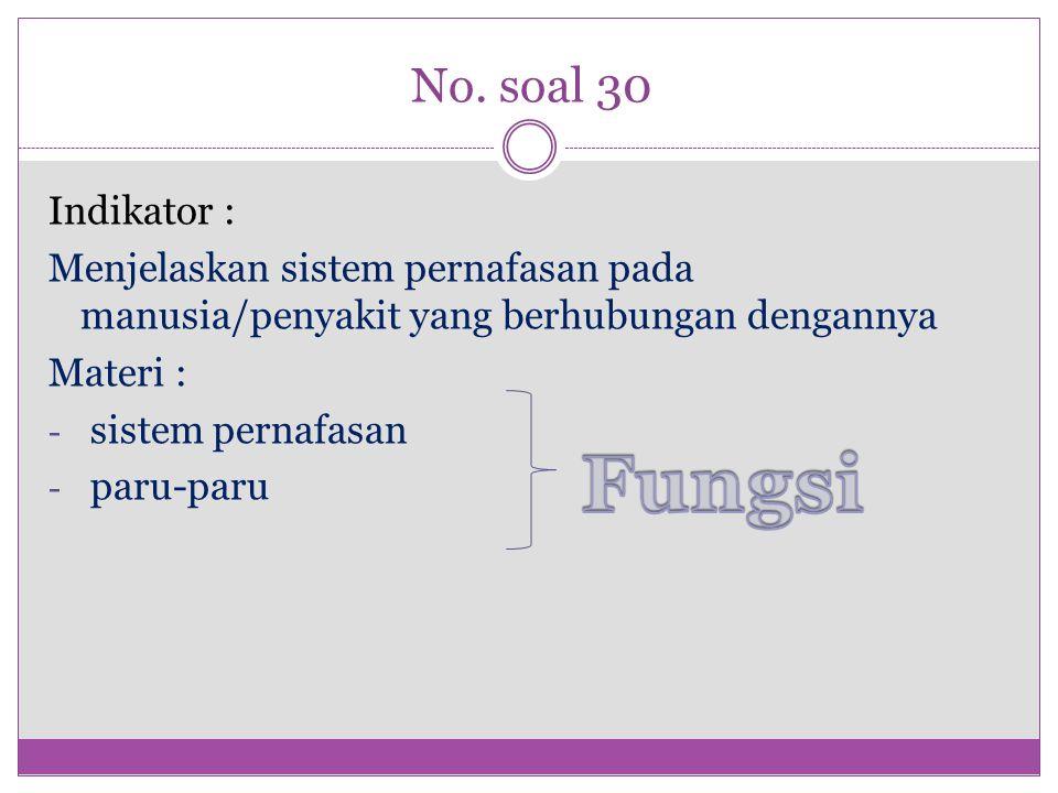 No. soal 30 Indikator : Menjelaskan sistem pernafasan pada manusia/penyakit yang berhubungan dengannya Materi : - sistem pernafasan - paru-paru