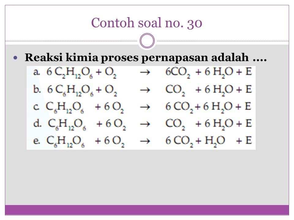 Contoh soal no. 30 Reaksi kimia proses pernapasan adalah....