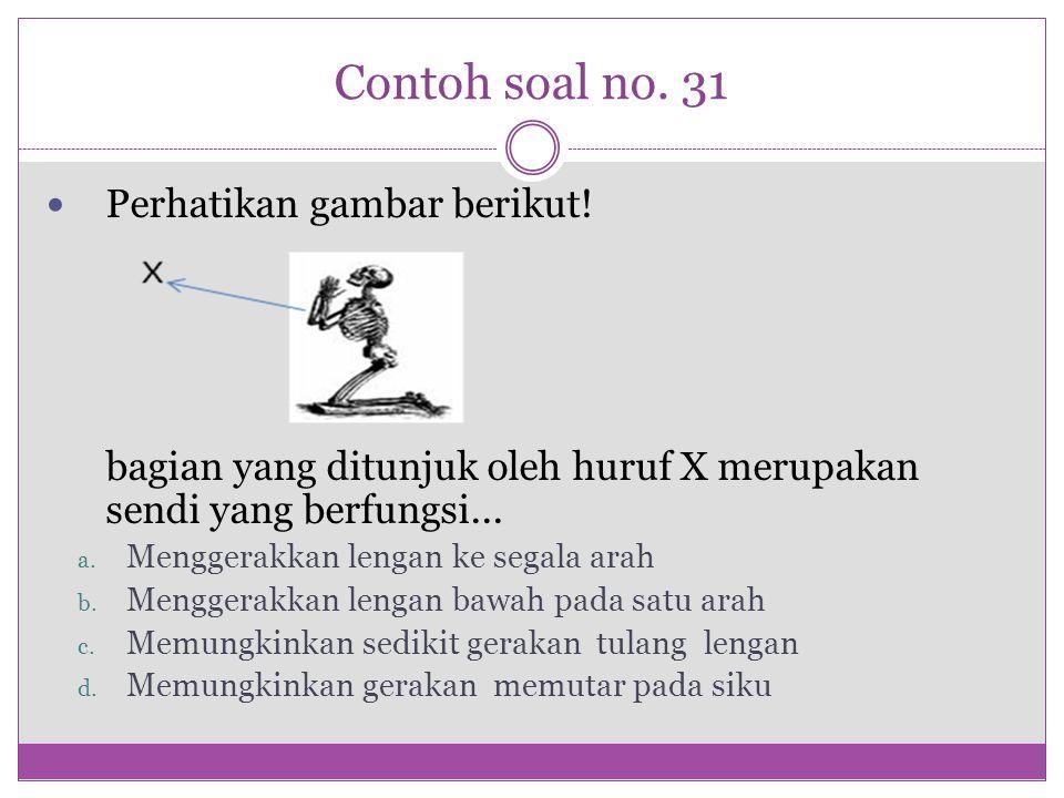 Contoh soal no. 31 Perhatikan gambar berikut! bagian yang ditunjuk oleh huruf X merupakan sendi yang berfungsi... a. Menggerakkan lengan ke segala ara
