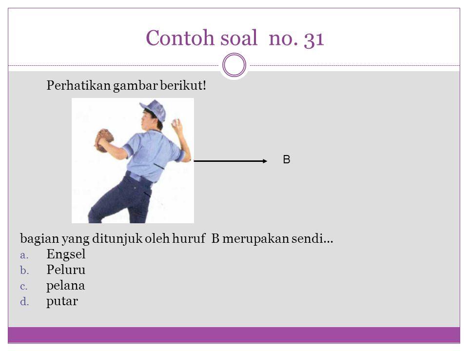 Contoh soal no. 31 Perhatikan gambar berikut! bagian yang ditunjuk oleh huruf B merupakan sendi... a. Engsel b. Peluru c. pelana d. putar B
