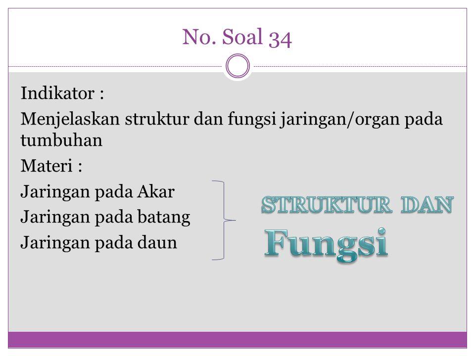No. Soal 34 Indikator : Menjelaskan struktur dan fungsi jaringan/organ pada tumbuhan Materi : Jaringan pada Akar Jaringan pada batang Jaringan pada da