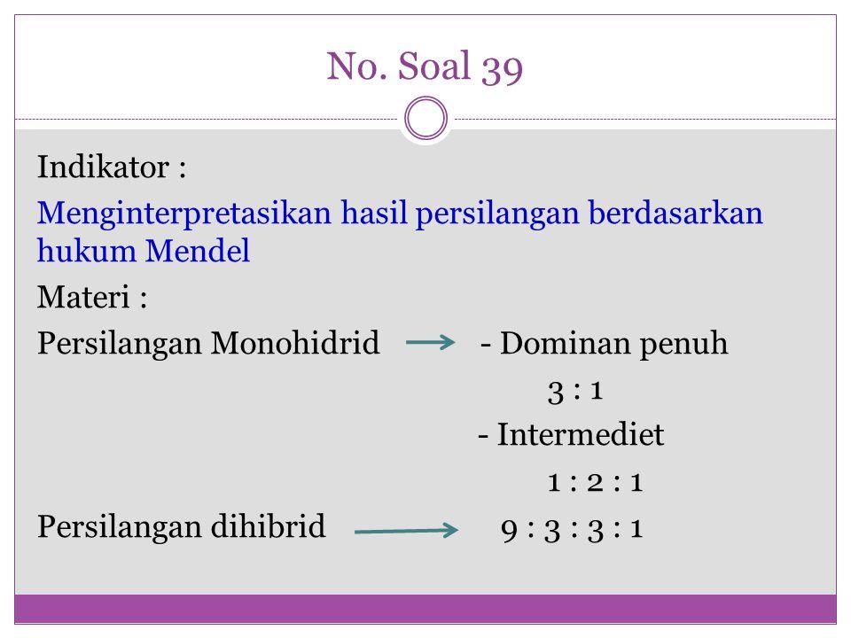 No. Soal 39 Indikator : Menginterpretasikan hasil persilangan berdasarkan hukum Mendel Materi : Persilangan Monohidrid - Dominan penuh 3 : 1 - Interme