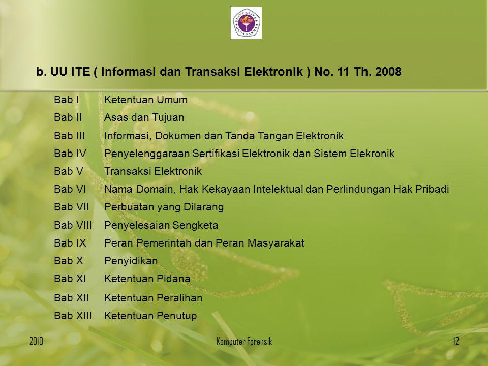 b. UU ITE ( Informasi dan Transaksi Elektronik ) No. 11 Th. 2008 Bab IKetentuan Umum Bab IIAsas dan Tujuan Bab IIIInformasi, Dokumen dan Tanda Tangan
