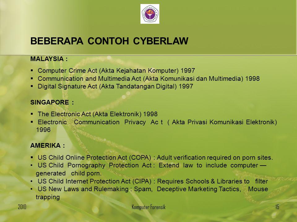 BEBERAPA CONTOH CYBERLAW MALAYSIA :  Computer Crime Act (Akta Kejahatan Komputer) 1997  Communication and Multimedia Act (Akta Komunikasi dan Multim