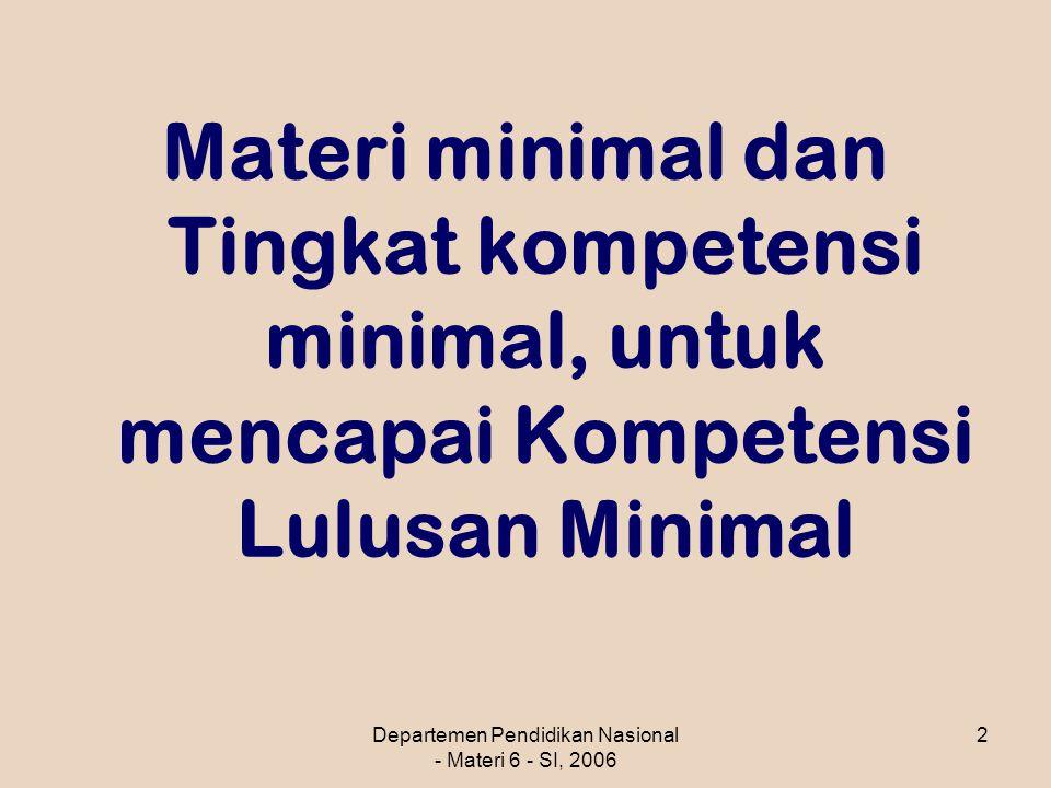 Departemen Pendidikan Nasional - Materi 6 - SI, 2006 2 Materi minimal dan Tingkat kompetensi minimal, untuk mencapai Kompetensi Lulusan Minimal
