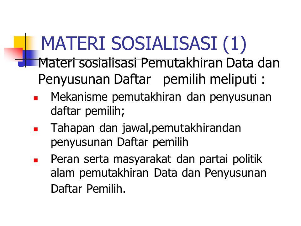 MATERI SOSIALISASI (1) Materi sosialisasi Pemutakhiran Data dan Penyusunan Daftar pemilih meliputi : Mekanisme pemutakhiran dan penyusunan daftar pemilih; Tahapan dan jawal,pemutakhirandan penyusunan Daftar pemilih Peran serta masyarakat dan partai politik alam pemutakhiran Data dan Penyusunan Daftar Pemilih.