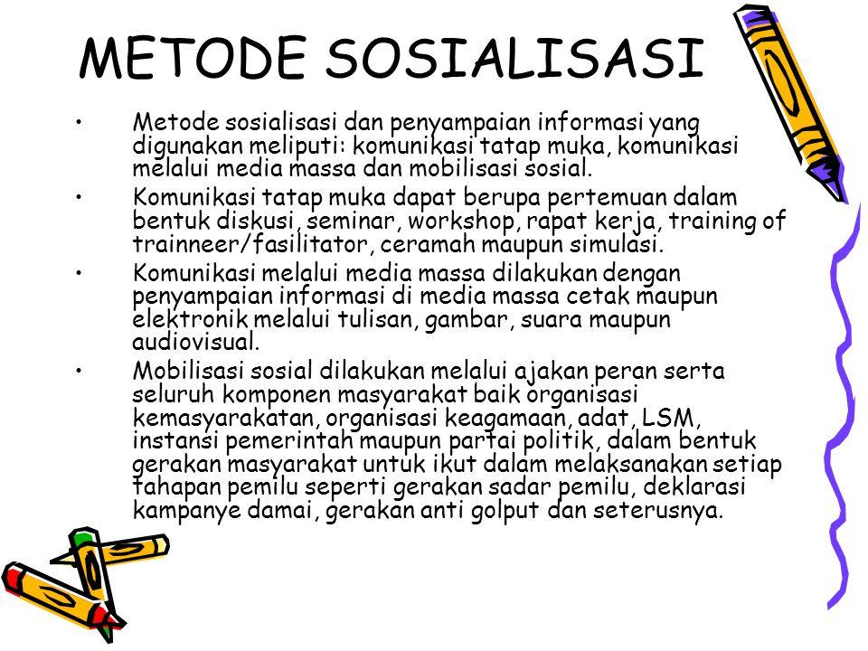 METODE SOSIALISASI Metode sosialisasi dan penyampaian informasi yang digunakan meliputi: komunikasi tatap muka, komunikasi melalui media massa dan mobilisasi sosial.