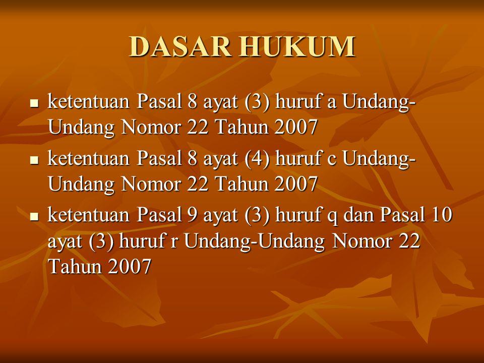 DASAR HUKUM (lanjutan….) Undang-Undang Nomor 40 Tahun 1999 tentang Pers Undang-Undang Nomor 40 Tahun 1999 tentang Pers Undang-Undang Nomor 21 Tahun 2001 tentang Otonomi Khusus Bagi Provinsi Papua Undang-Undang Nomor 21 Tahun 2001 tentang Otonomi Khusus Bagi Provinsi Papua Undang-Undang Nomor 32 Tahun 2002 tentang Penyiaran Undang-Undang Nomor 32 Tahun 2002 tentang Penyiaran Undang-Undang Nomor 10 Tahun 2004 tentang Pembentukan Peraturan Perundang-undangan Undang-Undang Nomor 10 Tahun 2004 tentang Pembentukan Peraturan Perundang-undangan Undang-Undang Nomor 32 Tahun 2004 tentang Pemerintahan Daerah sebagaimana telah diubah terakhir dengan Undang- Undang Nomor 12 Tahun 2008 Undang-Undang Nomor 32 Tahun 2004 tentang Pemerintahan Daerah sebagaimana telah diubah terakhir dengan Undang- Undang Nomor 12 Tahun 2008 Undang-Undang Nomor 11 Tahun 2006 tentang Pemerintahan Aceh Undang-Undang Nomor 11 Tahun 2006 tentang Pemerintahan Aceh Undang-Undang Nomor 22 Tahun 2007 tentang Penyelenggara Pemilihan Umum Undang-Undang Nomor 22 Tahun 2007 tentang Penyelenggara Pemilihan Umum