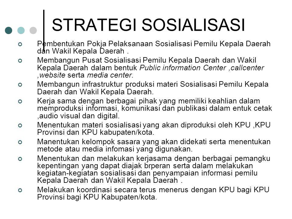 STRATEGI SOSIALISASI Pembentukan Pokja Pelaksanaan Sosialisasi Pemilu Kepala Daerah dan Wakil Kepala Daerah.