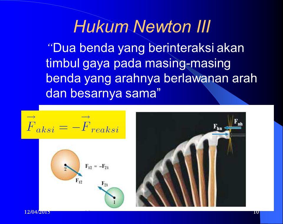 """12/04/201510 Hukum Newton III """" Dua benda yang berinteraksi akan timbul gaya pada masing-masing benda yang arahnya berlawanan arah dan besarnya sama"""""""