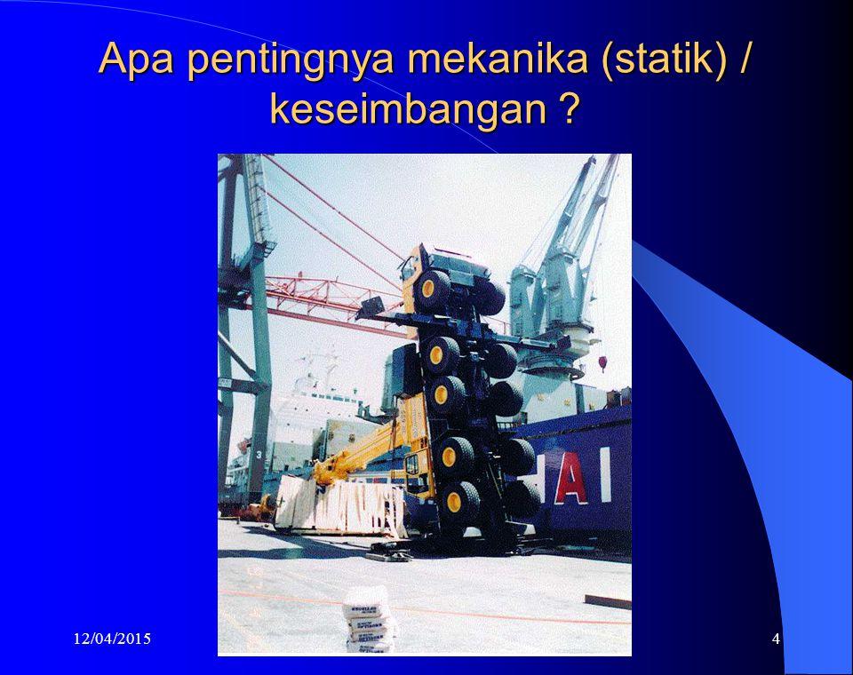 12/04/20154 Apa pentingnya mekanika (statik) / keseimbangan ?