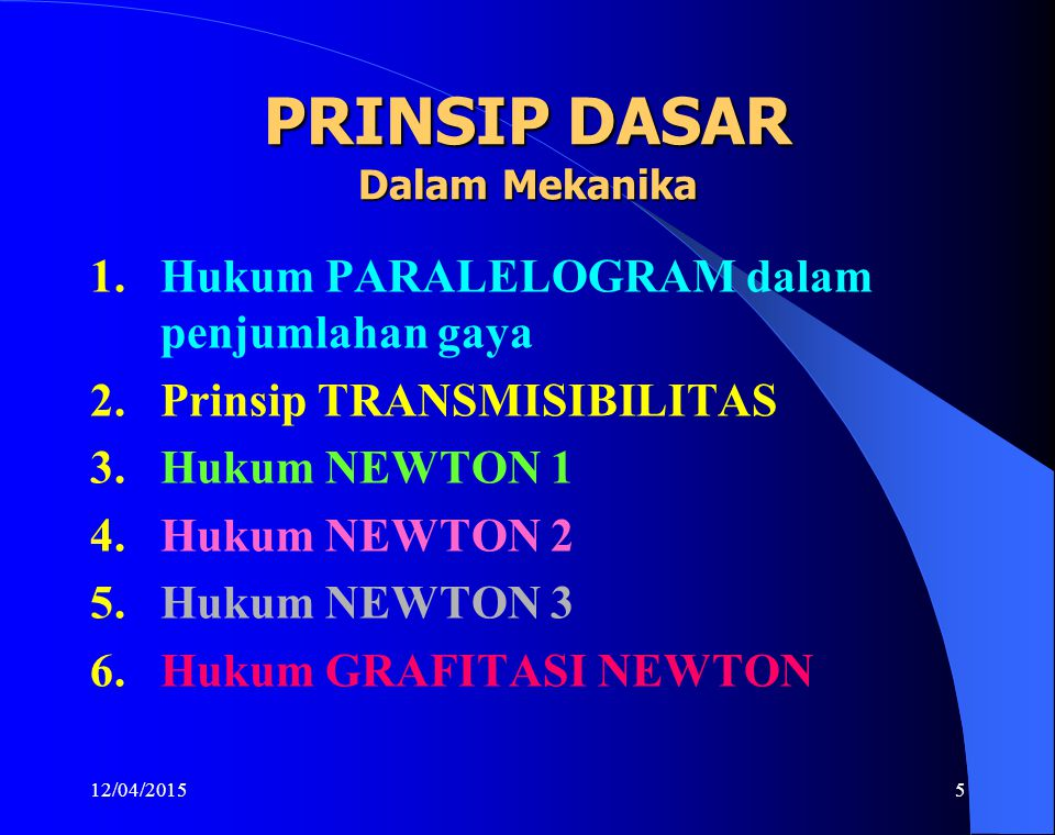 12/04/20155 PRINSIP DASAR Dalam Mekanika 1.Hukum PARALELOGRAM dalam penjumlahan gaya 2.Prinsip TRANSMISIBILITAS 3.Hukum NEWTON 1 4.Hukum NEWTON 2 5.Hu