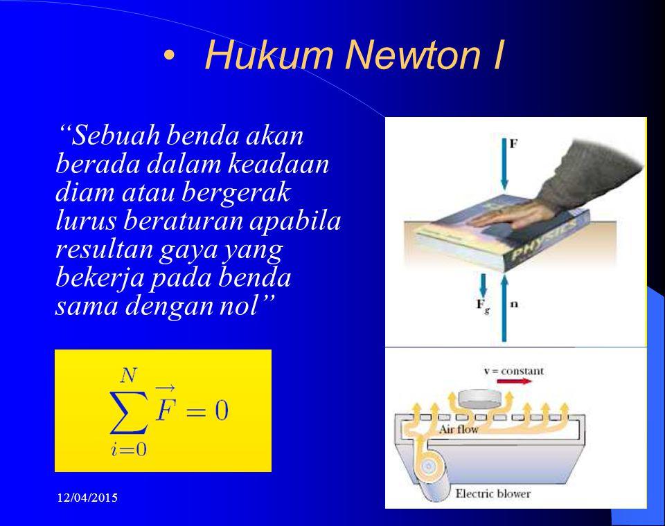 """12/04/20158 Hukum Newton I """"Sebuah benda akan berada dalam keadaan diam atau bergerak lurus beraturan apabila resultan gaya yang bekerja pada benda sa"""