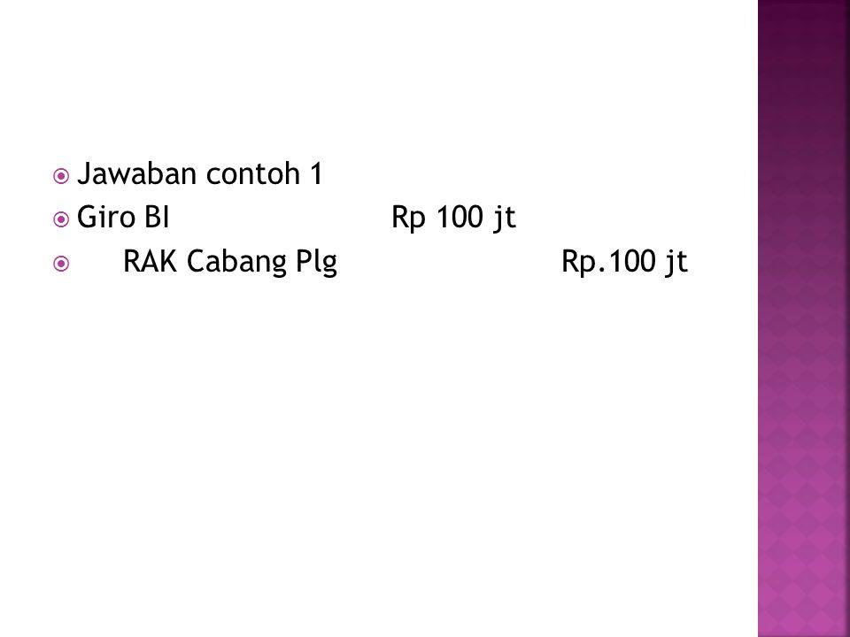  Jawaban contoh 1  Giro BIRp 100 jt  RAK Cabang PlgRp.100 jt