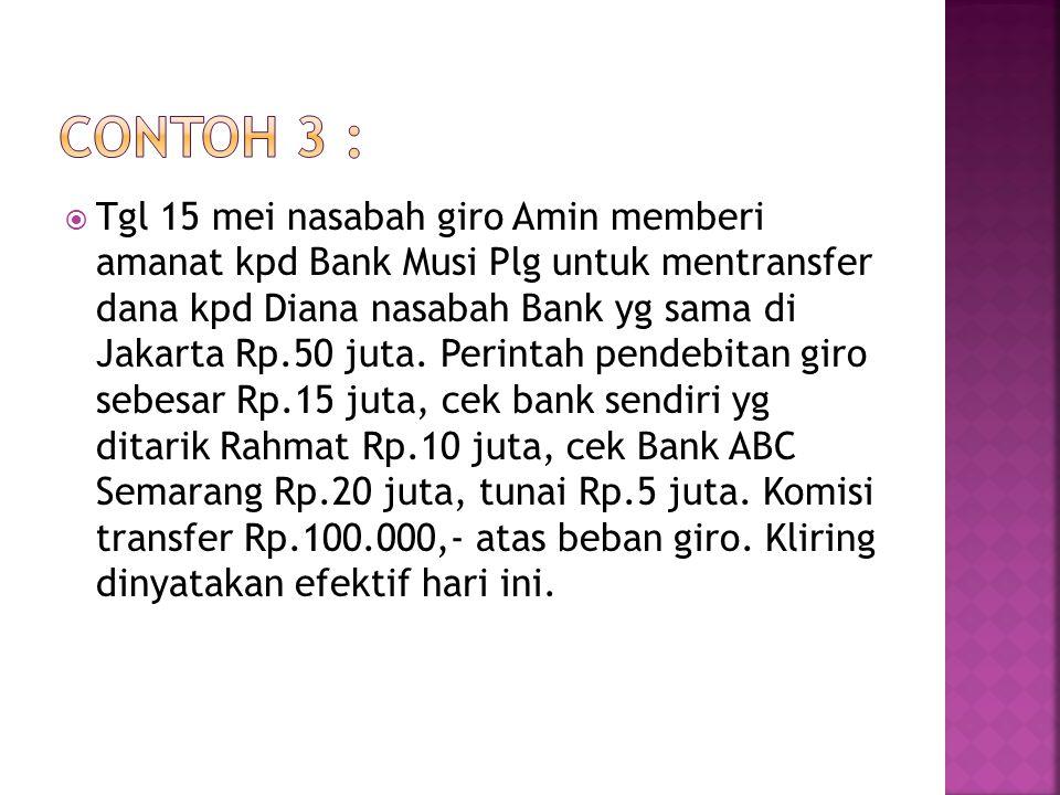  Tgl 15 mei nasabah giro Amin memberi amanat kpd Bank Musi Plg untuk mentransfer dana kpd Diana nasabah Bank yg sama di Jakarta Rp.50 juta. Perintah