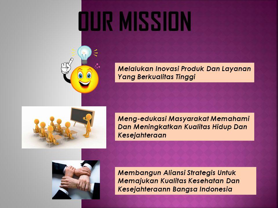 OUR MISSION Kami Membangun Tim Bisnis Yang Berkomitmen, Berpikir Positif Dan Bermental Sukses Kami Bekerja Menghasilkan Produk Berkualitas Kami Mendid