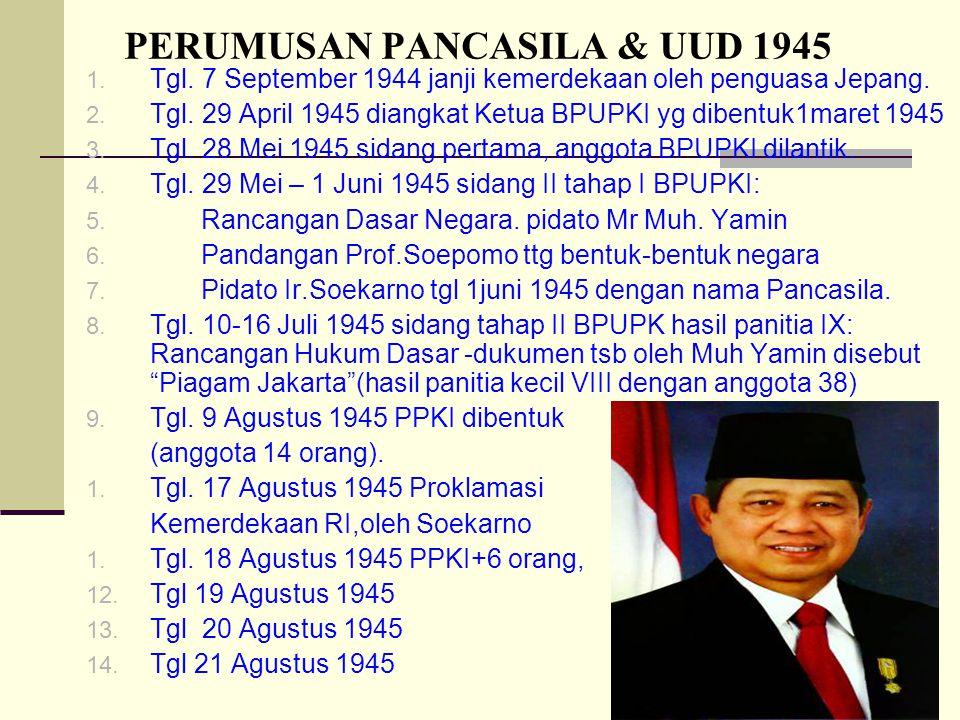 14 PERUMUSAN PANCASILA & UUD 1945 1. Tgl. 7 September 1944 janji kemerdekaan oleh penguasa Jepang. 2. Tgl. 29 April 1945 diangkat Ketua BPUPKI yg dibe